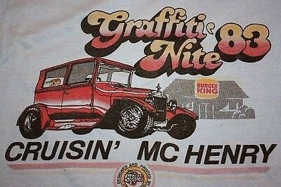 XS * vtg 80s 1983 McHenry Illinois GRAFFITI NITE cruise in T SHIRT * small 18.12