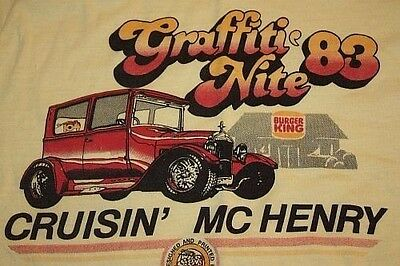 XS * vtg 80s 1983 McHenry Illinois GRAFFITI NITE cruisin T SHIRT * 18.13