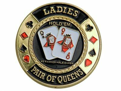 Poker Card Guard - Dealer Button Ladies Pair of Queens