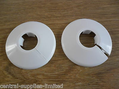 2 X 15mm NEW WHITE RADIATOR PIPE COLLARS COVER - FREE UK DELIVERY