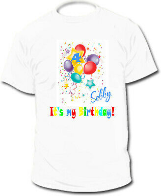 Personalised Happy Birthday Kid's T-Shirts  - Ages 1 - 8yrs - Add Name & Age