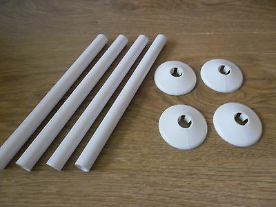 4 X 15mm NEW WHITE RADSNAPS RADIATOR PIPE COVERS + COLLARS - FREE UK DELIVERY