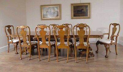 Georgian Walnut Dining Table & 10 Queen Anne Chairs Dining Set Furniture