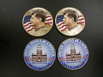 Two Colorized John F. Kennedy and Two Colorized Bicentennial Half Dollars
