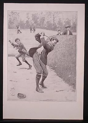Fine Antique 1904 Print, A B Frost, Temper, Frustrated Furious Golfer, Humorous