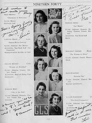 1940 Boston Girls Latin High School Yearbook~Photos~History~Graphics~WWII