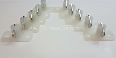 Stayput Fasteners -  Horizontal -  Single White with stainless steel tongue x 10