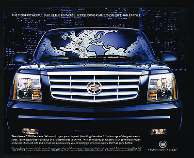 2002 Cadillac Escalade Most Powerful SUV In Universe Print Ad