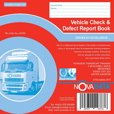 Novadata Vehicle Check & Daily Defect Report Pad 50 duplicate pages