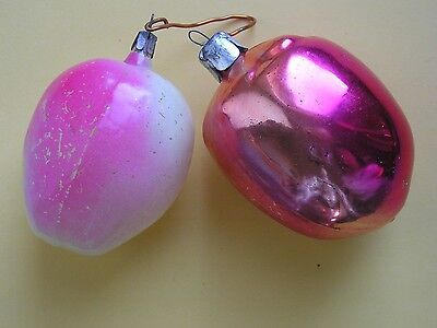 """Vintage Russia Christmas Silver glass ornament """" 2 Apples """""""