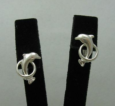 Stylish Small Sterling Silver Earrings Dolphin Solid 925 French Clip New