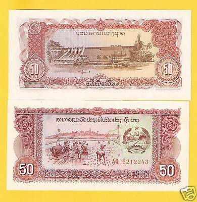 LAOS 50 Kip Banknote World Paper Money UNC Currency p29a Note Asia 1979 Bill