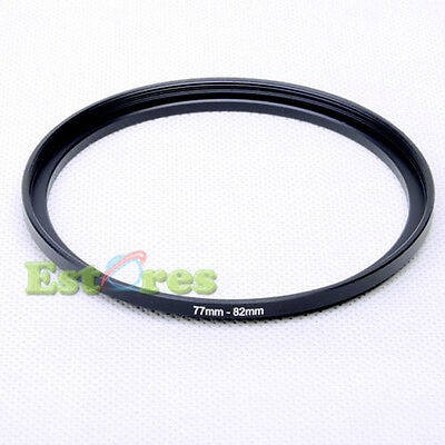 77mm-82mm 77-82 mm 77 to 82 Metal Step-Up Lens Filter Ring Adapter Black