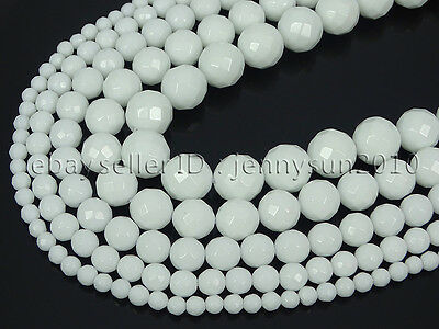 Natural White Alabaster Gemstone Faceted Round Beads 16'' 4mm 6mm 8mm 10mm 12mm