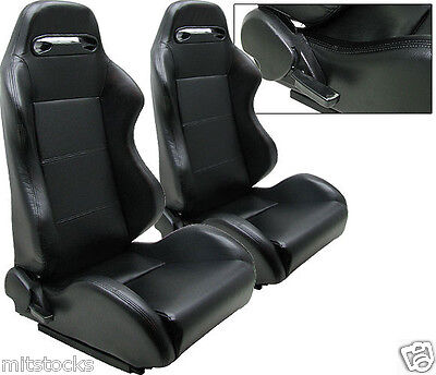 New 2 Black Leather Racing Seats Reclinable W/ Slider All Chevrolet **