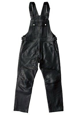 Men's Black Thick Leather Biker Motorcycle Bib Overalls New All Sizes
