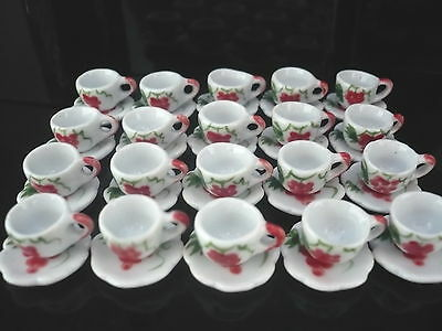 40 Red Flower Paint Coffee Cup and Scalloped Dollhouse Miniatures Ceramic Supply
