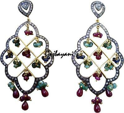 Victorian Rose Cut Diamond & Precious Stone Beaded Gold/silver Earring