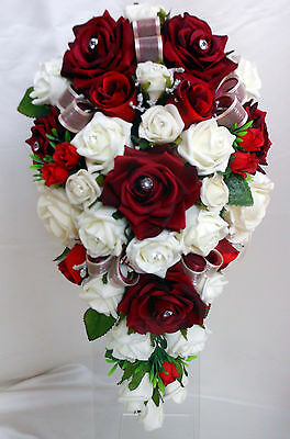 Teardrop Wedding Bouquet, White and Burgundy Roses