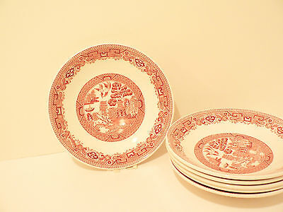 Vintage Ridgway North Staffordshire Pink Willow Saucers (6) c. 60's   (S2
