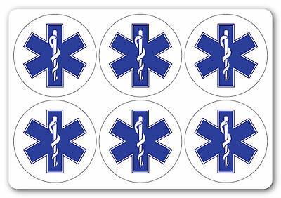 STAR OF LIFE SYMBOL health and safety signs Stickers 6NO 200x200mm