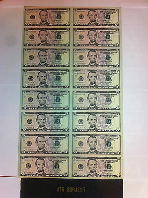 "$5 UNCUT SHEET $5X16 Legal USA FIVE DOLLARS*Real Currency Note""Rare Money GIFT."