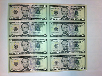 UNCUT SHEET $ 5X 8 Legal USA FIVE DOLLAR-Real Currency Note Rare Money-GIFT !!