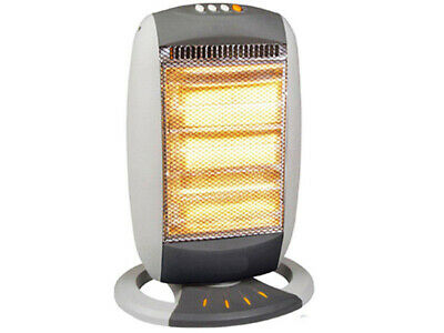 New Portable Electric Oscillating Halogen Heater 3 Bar 1200W Grey Home Office