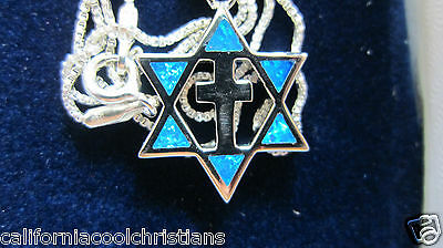 .925 Sterling Silver Star of David & Cross with 2 Sided Opals-Judaism  Christian