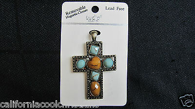 Antique Gold tone metal & Stone Cross Pendant Magnetic closure - pin or necklace