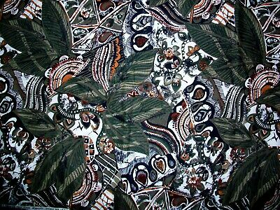 Jungle Leaf Design Earth Tone Cotton Fabric