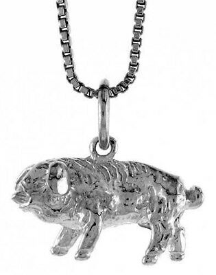 .925, Sterling Silver 11mm Tall Chinese Zodiac Pendant Charm for Year of the Pig