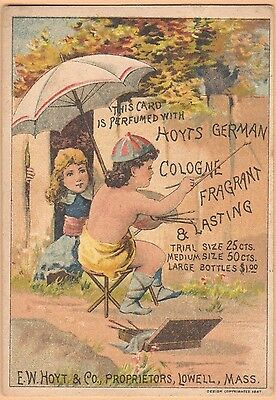 Victorian Trade Card-Hoyt's German Cologne-Lowell, MA- Child Writing on Fence
