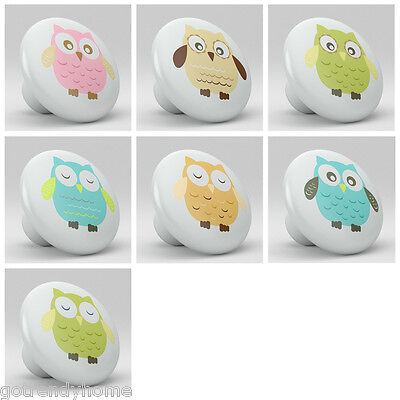set of 7 WHIMSICAL OWLS Nursery Ceramic Knobs Pulls Closet Drawer Dresser 1101