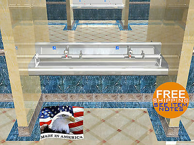"Ada Multistation 2 Users Hand Sink No Lead Electronic Faucet 60"" Stainless Steel"
