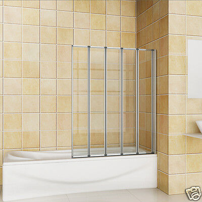 1200x1400 5 Folding Chrome Shower Bath Screen Over Bath Door Panel NEXT DAY DEL