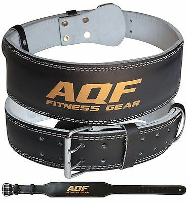 "AQF Weight Lifting 4"" Leather Belt Back Support Strap Gym Power Training Fitness"
