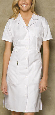 "Dickies Style 84500 Uniform Button Front WHITE Nurse's Dress 38"" XS-3XL"