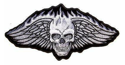 1 new  JUMBO FLAMING SKULL WITH WINGS JACKET BACK PATCH JBP50 NEW flame skull