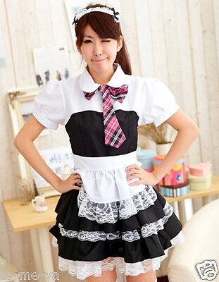 Sexy French Maid Dress High School Uniform Cosplay Costume Fancy Dress Party