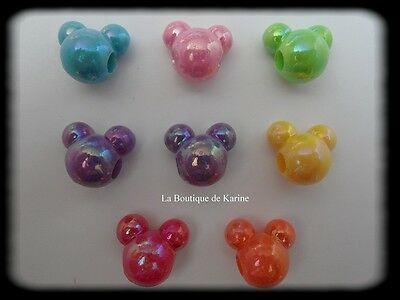 LOT DE 10 PERLES NACREES ACRYLIQUES MICKEY 7 COULEURS 18 x 15 mm CREATION BIJOUX