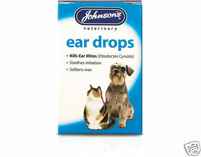 Johnsons Kills Ear Mite Drops Dog Cat Puppy Kitten Soothes Softens Wax