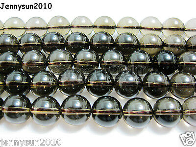 Natural Smoky Quartz Gemstone Round Loose Beads 15.5''4mm 4mm 6mm 8mm 10mm 12mm