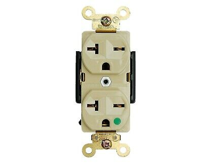 Hospital Grade Receptacle 20 Amp Duplex Outlet 250 Volt Plugs Ivory Grounding