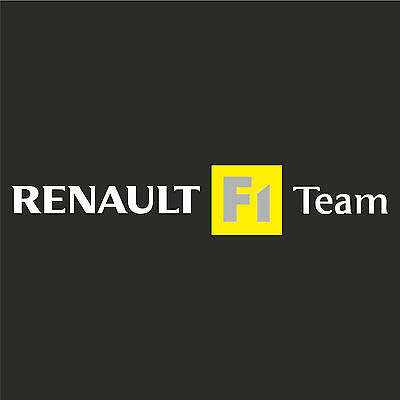 1 x Renault F1 Team Sticker Decal New Style - WHITE TEXT (Clio, megane, sport)