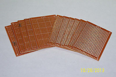 "10 Pcs , 2"" X 2 3/4"" Diy Prototype Pc Boards , Copper Solder Pads !! Nice !!"