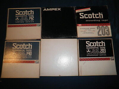 """Audio tape on 7"""" plastic reels with tape reel boxes. lightly used & TESTED!!!!!!"""