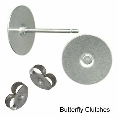 144 Earring Stud Posts 10mm Pad & back 72 Pair Hypoallergenic Surgical Steel USA