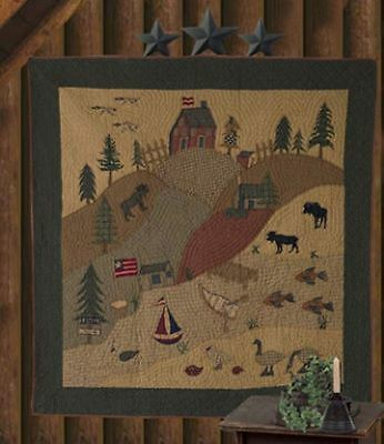 "Rustic Lodge Cabin Wildlife Applique Quilted Wallhanging 65"" X 65"" Tea Dyed"