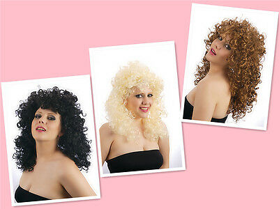 80s Women Black Brown Blonde Charlotte Perm Curly Cher Wig Accessory Fancy Dress
